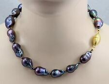 Perlenkette - große Süßwasser-Perlen Fireballs mit Magnetschließe 49,5 cm lang