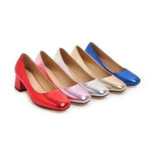 Ladies Square Toes Shoes Shiny Synthetic Leather Med Heels Pumps AU Size S238