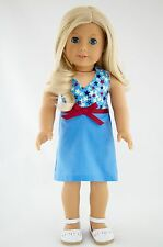 4th of July Blue Summer Dress American Made Doll Clothes For 18 Inch Girl Dolls