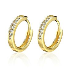 Luxury 18 k Gold Plated White Zircons Huggy Women Lady Hoops Earrings E1030