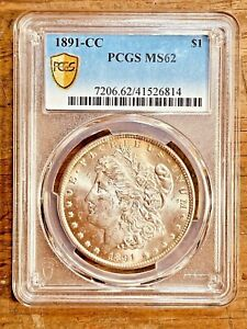 1891-CC MS62 Gold Shield Morgan Silver Dollar PCGS Graded Certified US $1 Coin
