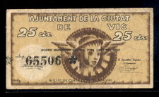 187-INDALO- Ajuntament de Vic, Barcelona. 25 Céntimos Junio 1937. BC+ !!!!!!!!!!