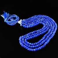 407.50 CTS EARTH MINED RICH BLUE SAPPHIRE 3 LINE ROUND FACETED BEADS NECKLACE