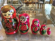 Wooden Nesting Dolls 5 Hand Painted As Strawberries