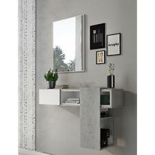 Mobile da ingresso bianco grigio cemento sospeso scorrevole moderno con specchio
