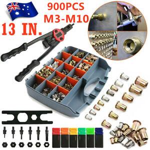 900pcs Riveter Gun Auto Rivet Tool Stainless Steel Nuts Insert Tools Mandrel Kit