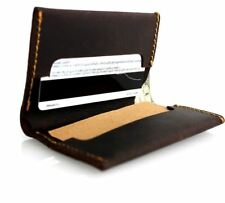 Men's Real Leather Credit Card Case 2 Slots 2 Slip Pockets 1 Bill Compartmen​t s
