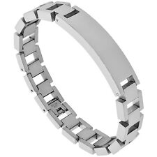 Men's Stainless Steel Identification Rectangular Bar Bracelet