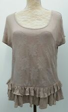 Next Ladies Size 16 Brown Beige Tunic Top Floral Crochet Overlay Autumn Fashion