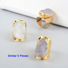 5Pcs Gold Plated Freeform Natural Druzy Agate Geode Cuff Open Band Ring GG0935