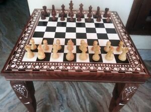 Chess Board table Inlay Work Square Center / Side Table Rosewood Foldable Decor