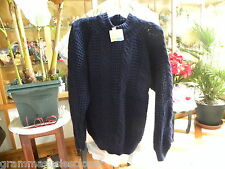 NAVY BLUE CABLEKNIT SWEATER 100% ACRYLIC NEW