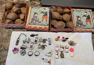 RARE vintage miniature prize toys JAPAN-2 boxes-1920's-in nutshell-Cracker JAck