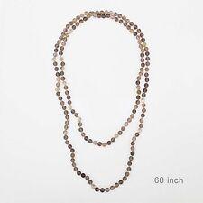 "60"" Long Multi Color Gray Semi Precious 8mm Stone Beaded Wrap Around Necklace"