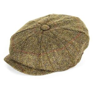 Failsworth Hats Carloway Harris Tweed Bakerboy Cap - Beige Check