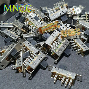 1/2/5pc 8 Pin 3 Pos On On On 2P3T DP3T Panel Slide Switch 0.5A 50V DC 5mm Knob