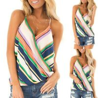 2019 Summer Womens V Neck Striped Tank Tops Loose Casual Sleeveless Vest T Shirt