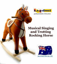 PLUSH KIDS ROCKING HORSE MOVES AND SINGS WITH WOODEN STAND & SADDLE TAN B17