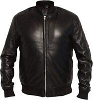 UNICORN LONDON Mens Black Classic Real Leather Bomber Jacket #B0