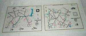2 1970 PA.FISH COMMISSION FISHING-BOATING MAPS OF FAYETTE & WARREN COUNTIES
