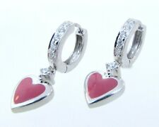 18k White Gold Diamond & Enamel Hanging Heart Child, Teen or Adult Hoop Earrings