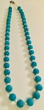 Vintage Chinese Carved Turquoise Shou Beads Necklace Silver Clasp