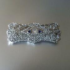 Antique Art Deco 14K White Gold, Diamond, Sapphire Pierced Filigree Brooch Pin