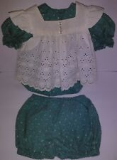Vintage Handmade Baby Layered Eyelet Pinafore Dress 3 Piece Floral Set Outfit