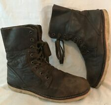 Men's Geox Brown Leather Boots Size 7 (83v)