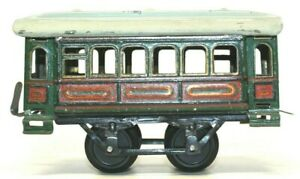 VINTAGE EARLY PRE-WAR ISSMAYER TIN LITHOGRAPHED EMBOSSED 0-GAUGE PASSENGER COACH