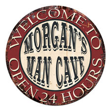 CPM-0508 MORGAN'S MAN CAVE OPEN 24hrs Chic Tin Sign Man Cave Decor Gift