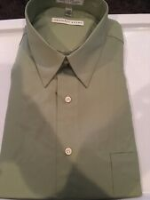 Geoffrey Beene Fitted Sateen Sea Grass Men's Size 17.5 34/35 Wrinkle Free NWT