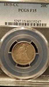 1875-CC Twenty Cent Piece * PCGS F15 * Mintage Only 133,290 * Scarce