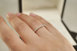 Round Cut Moissanite Full Eternity Engagement Band Ring 14k Yellow Gold Over6