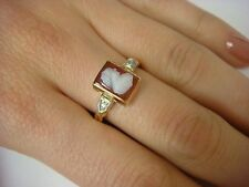 ANTIQUE LADIES- GIRL`S SMALL CAMEO RING WITH 2 DIAMONDS 3.5 GRAMS, 14K GOLD