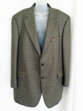 COLLEZIONI ITALY SZ 46 LONG HOUNDSTOOTH PLAID WOOL OLIVE BLAZER SPORT COAT