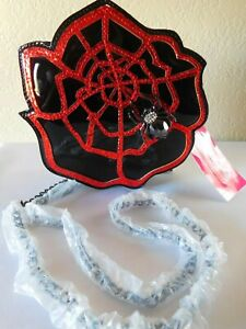 New Betsey Johnson Mini Rose Spider Web Crossbody Kitsch Bag