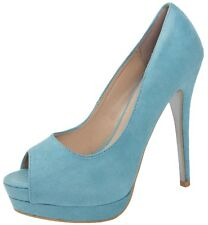 Womens Pastel Peeptoe Faux Suede Platform Heel Stiletto Ladies Shoes Size 3 - 8 Aqua UK 6 EU 39