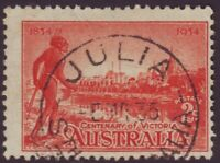 "SOUTH AUSTRALIA POSTMARK ""JULIA"" ON 2d VICTORIAN CENTENARY DATED 1935 (A10683)"