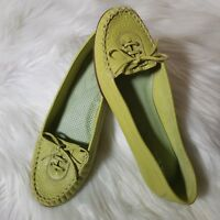 "Via Spiga Lime Green Flats ""Keeper"" Moccasin Womens Leather Loafers 6 M EUC"