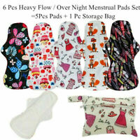 6 Pcs Reusable Organic Bamboo Charcoal Heavy Flow Menstrual Sanitary Pads Set