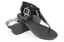 New Kork Ease Women's Catriona T-Strap Flat Sandals Size 10m Black Patent