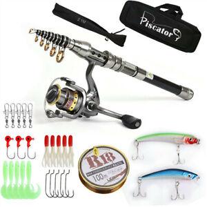 2.1m Piscator Telescopic Fishing Rod & Reel Combo Full Kit Spinning Fishing Reel