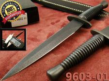 British Commando Dagger Black Tactical Hunting Knife Leather Sheath 9603-14