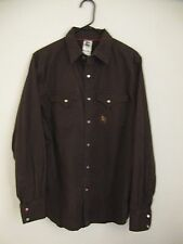 """The North Face Pearl Snap Long Sleeve Shirt - Mens M (44"""" chest) - Brown"""