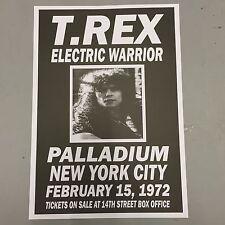 T REX MARC BOLAN - CONCERT POSTER PALLADIUM NEW YORK 15th FEBRUARY 1972 (A3SIZE)