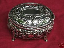 Ashley Silver Plated Jewelry Box Trinket Antiqued