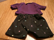 bitty baby girl doll clothes black shorts w multi-colored stars/purple tee 159