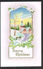 Vintage Gold Standard Brand Merry Christmas Postcard