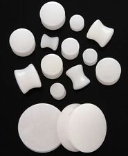 1 Pair 00g Organic White Quartz Stone Saddle Plugs Ear Double Zero Gauge 10mm